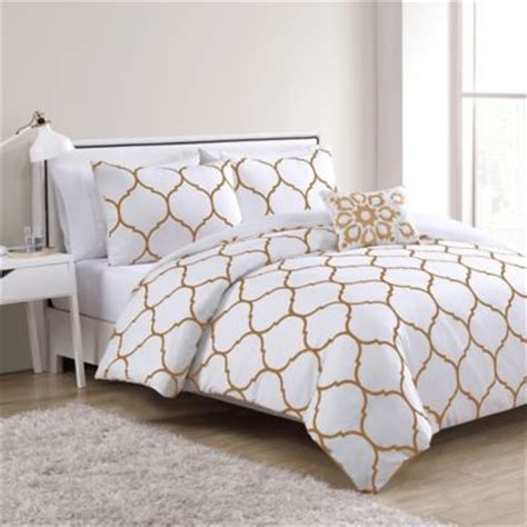 White And Gold Bed Covers by Vcny Ogee 4 Comforter Set In Gold White