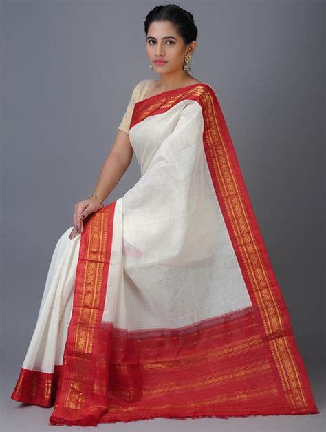 Buy White-Red Cotton Gadwal Saree with Zari Border Online