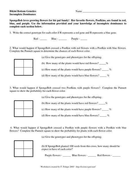 incomplete dominance  codominance worksheet answer key