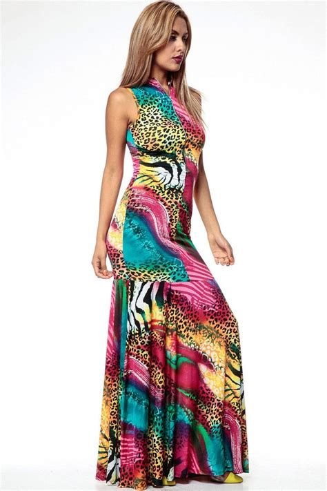 multi colored dress multi colored animal print mermaid maxi dress cicihot