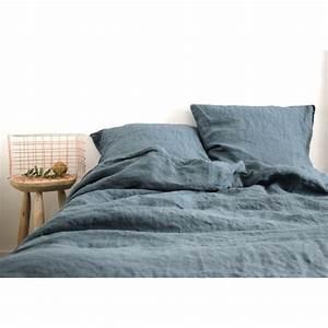 Housse De Couette Lin Lavé Solde : housse de couette en lin lave bleu gris stone washed 240x220cm ~ Teatrodelosmanantiales.com Idées de Décoration