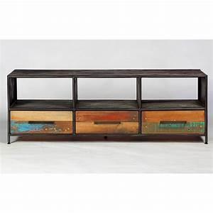 meuble tv industriel drum 3 tiroirs pas cher With maison du monde meuble tv 3 meuble tv industriel factory 2 tiroirs origins meubles