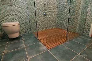 douche caillebotis ceramiques hugo sanchez inc With porte de douche coulissante avec caillebotis salle de bain teck
