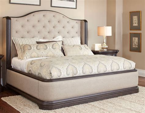 24054 king vs bed oak linen traditional 6 king bedroom set