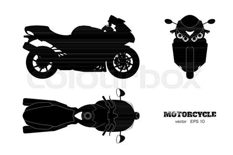 black silhouette  motorcycle side stock vector