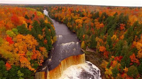 drone video shows fall colors  tahquamenon falls  paradise michigan youtube
