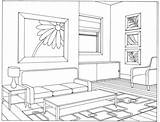 Coloring Living Interior Architecture Caleb Sophia Drawing Buildings Ruang Tamu Sketsa Gambar Printable Courses Drawings Vanishing Jw Point Scene Desain sketch template