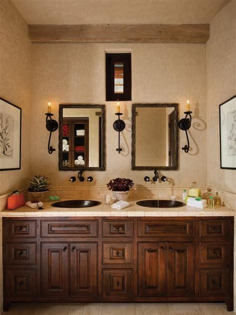 mediterranean master bathroom  dual sinks hgtv