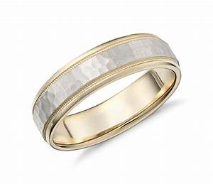 Hammered milgrain comfort fit wedding ring in 14k yellow for Gold and white gold wedding rings