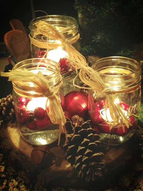 christmas table centerpiece mason jars floating candles