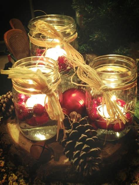 christmas table centerpiece mason jars floating candles