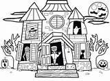 Houses Drawing Haunted Coloring Sheet Getdrawings sketch template