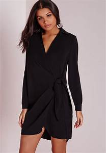 missguided crepe wrap shirt dress black in black lyst With robe portefeuille noire
