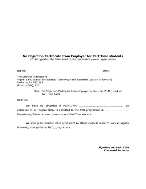objection certificate  job  objection letter