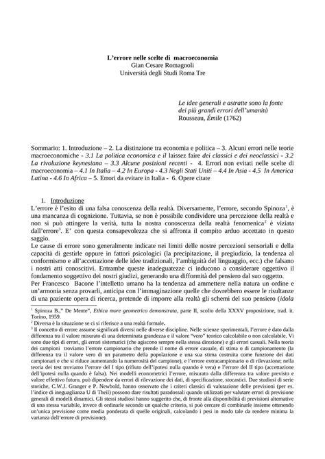 Dispense Di Macroeconomia by Errore Nelle Scelte Di Macroeconomia Dispense