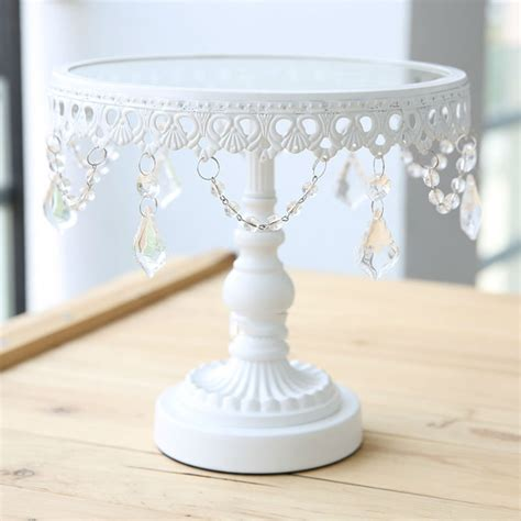 glass cake decoration glass cake stand white iron and glass cake stand wedding