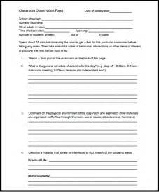 Teacher Classroom Observation Form