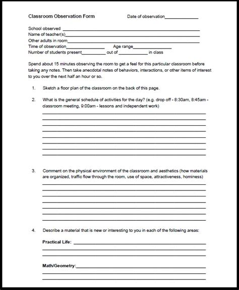 classroom observation form for teachers teacher classroom observation form olala propx co