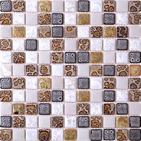 TST Ceramic Mosaic Tiles Black & White Chocolate Leopard