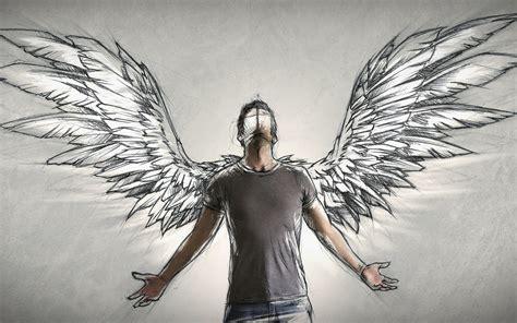 fondos de pantalla angel alas dibujo de arte