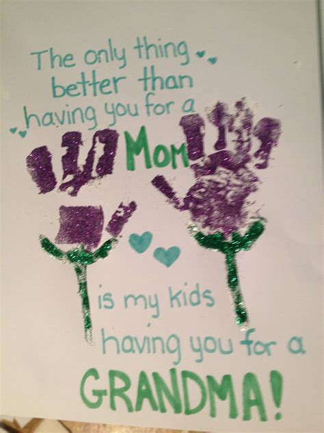 homemade mothers day card handprint footprint grandma