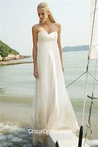 empire waist strapless sweetheart a line beach wedding With a line empire waist wedding dress