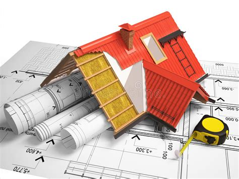 3d Design Of Roofs On A Background Of Drawings Stock
