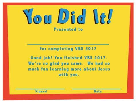 vbs certificate free vbs certificate of completion children s ministry deals