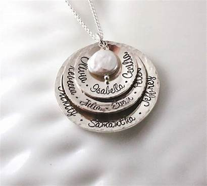 Hammered Necklace Layered Silver Grandmother Grandmothers Layer