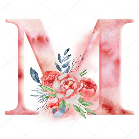 floral watercolor alphabet monogram initial letter  design  hand drawn peony flower