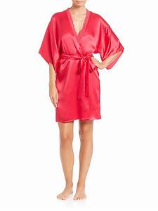 stella mccartney clara whispering lace trim silk robe in With stella mccartney robe