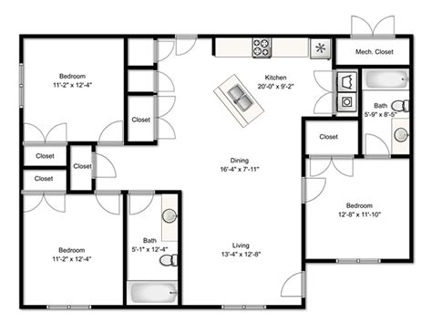 Three Bedroom Building Plan  Homes Floor Plans