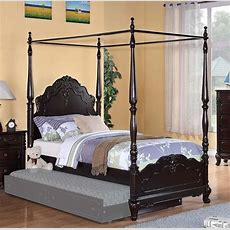 Dreamy Dark Cherry Finish Full Girls Poster Canopy Bed