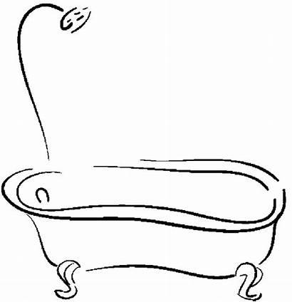 Coloring Shower Bathtub Tub Bathroom Pages Drawing