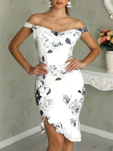 Floral Print Cold Shoulder Ruffles Bodycon Dress | Bodycon ...