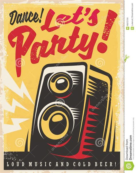 Party Invitation Retro Poster Design Stock Vector