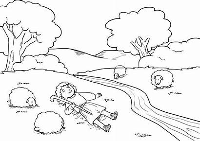 Psalm Coloring Pastures Down Lie Clipart Drawing