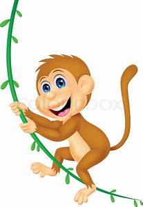 Cute monkey cartoon swinging | Stock Vector | Colourbox