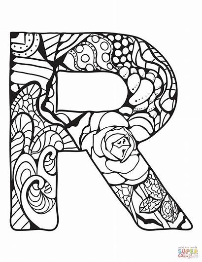 Letter Coloring Zentangle Pages Alphabet Printable Drawing