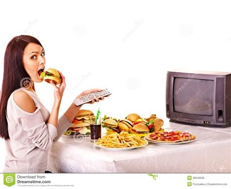 cuisine tv free fast food and tv stock image