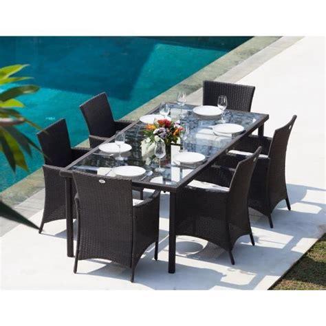 table et fauteuil de jardin en resine tressee ensemble table de jardin 220cm et 6 fauteuils r 233 sine tress 233 e gris anthracite achat vente