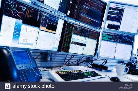 computer desk oklahoma city usa new york state new york city monitors above trading