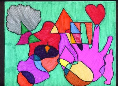 Abstract Shapes Meaning by Abstract Paintings Using Shapes With Meaning
