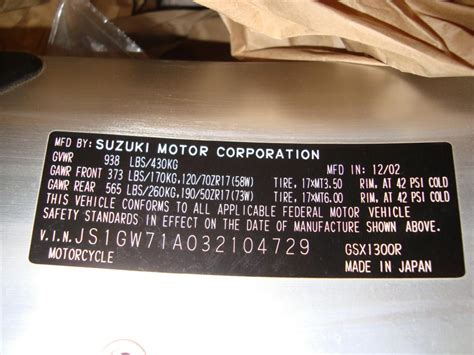 Suzuki Vin Decoder by Vin Number Location On Suzuki Motorcycles Reviewmotors Co