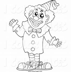 Vector Coloring Page of a Black and White Circus Clown ...