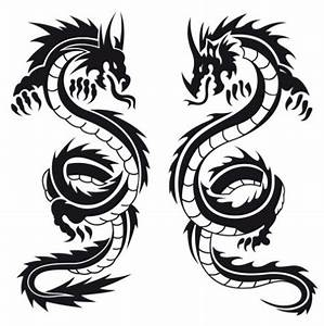 Designtattoo Silhouette Chinese Dragons Tattoo Black And ...