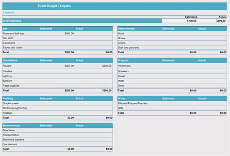 event budget  cost planning templates excel