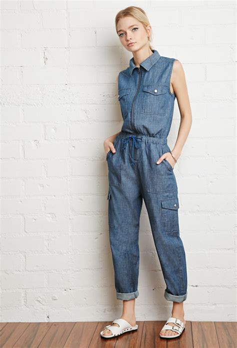 forever 21 denim jumpsuit forever 21 zip front chambray jumpsuit in blue lyst