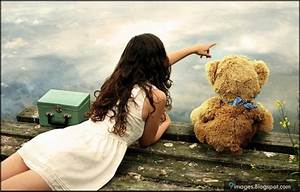 Alone, girl, cute, teddy-bear, beautiful