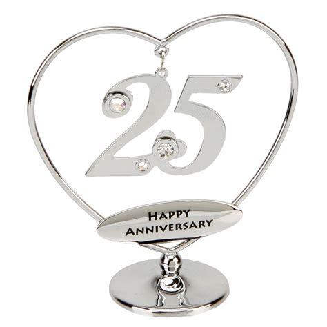 25 wedding anniversary 25th anniversary cake topper 25th silver anniversary gift or cake topper with swarovski
